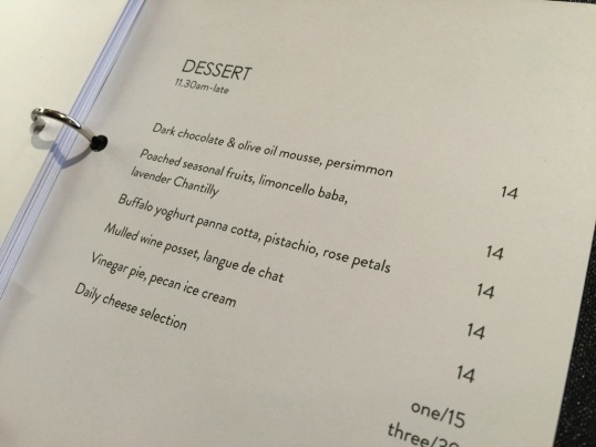Sterling dessert menu