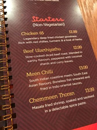 Keralacarte menu